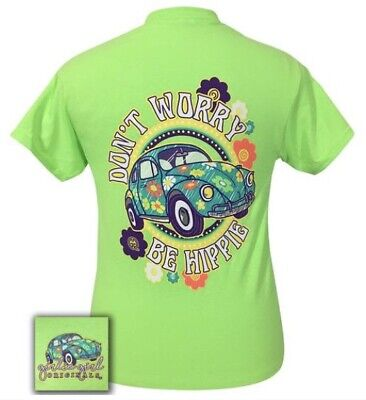 Girlie Girl Originals• Women's Don't Worry Be Hippie Neon Green T-Shirt Large](Girl Hippies)