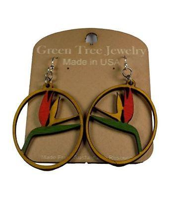 Green Tree Jewelry Bird of Paradise Natural Wood Wooden Laser Cut Earrings (Bird Of Paradise Natural Wood)