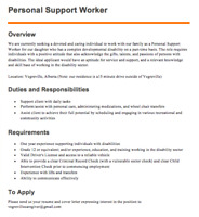 Vegreville Respite Job - Personal Care Assistant