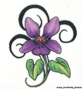 tribal design purple violet and leaves beautiful small size temporary tattoo ebay. Black Bedroom Furniture Sets. Home Design Ideas