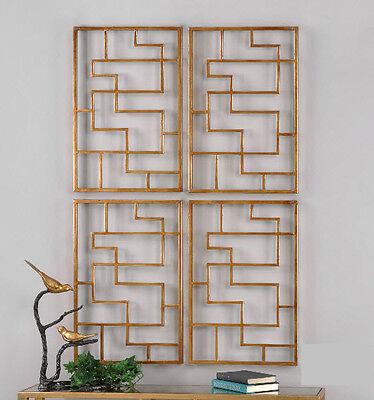 Set 2 Greek Key Wall Plaques Grille Gold Leaf 24 sq Geometric Sculpture -