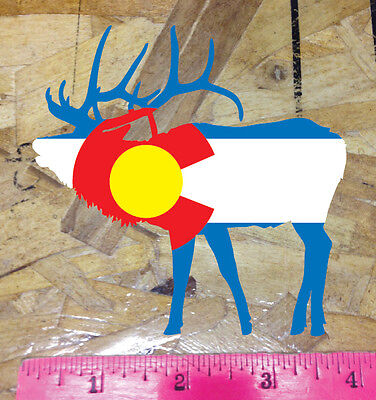 Elk Colorado State Flag Die Cut Sticker Decal 4""
