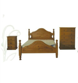 brand new hardwood bedroom set queen size bed*1 bed size table*2