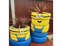 Used tyres for garden decoration