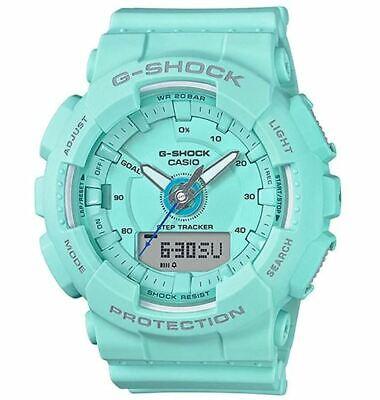 Casio G-Shock Women's Quartz Step Tracker Illuminator Mint 49mm Watch GMAS130-2A