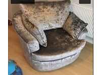 Swivel chair crushed velvet