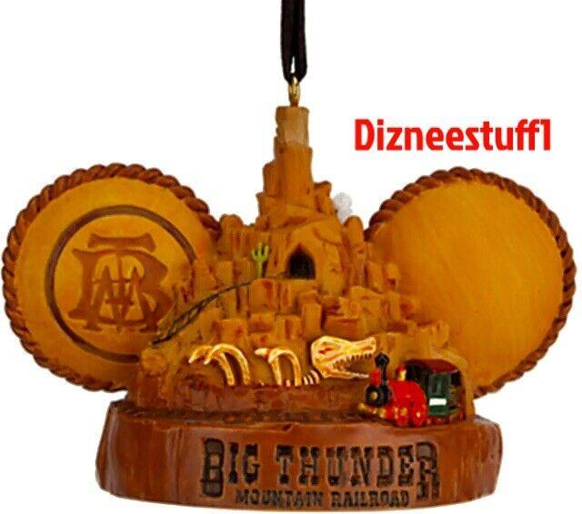 New Disney Parks Big Thunder Mountain Railroad Mickey Ear Hat Christmas Ornament