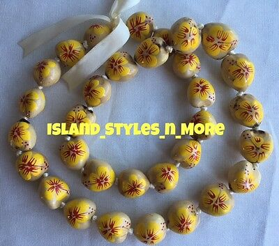 Hawaii Wedding NATURAL Hibiscus Kukui Nut Lei Graduation Luau Necklace YELLOW