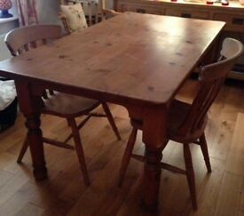Large pine table 5ftx3ft wear n tear marks with 2 chairs