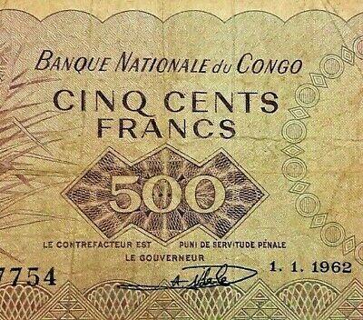 Congo 500 FRANCS 1962 P 7 VG Serie A !!!! Indépendance. Belge