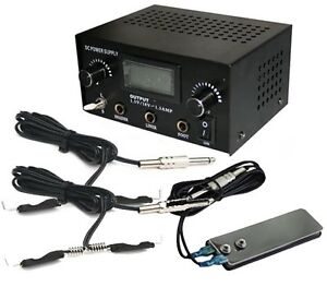 LCD Dual Digital Tattoo Power Supply Kit Foot Pedal Switch + 2 Clip Cords Black