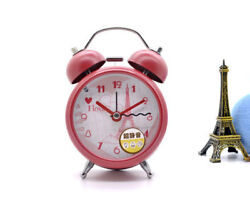 3-inch Silent Vintage Metal Eiffel Tower Double Bell Desk Table Alarm Clock Red