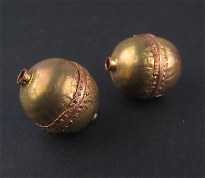 Jumbo Artisanal Ethiopian Brass Bead Set of 2 28mm African Round Large Hole