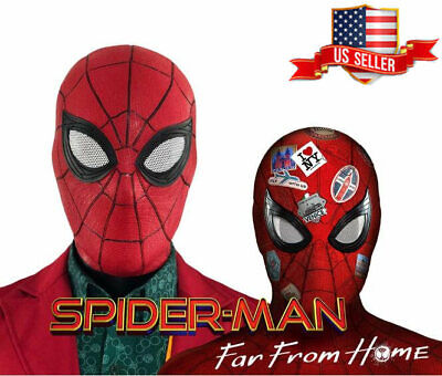 US!Spider-Man Far From Home Adult Latex Full Mask Halloween Cosplay Helmet Props](Full Latex Mask)