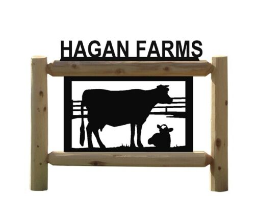 PERSONALIZED LOG FARM COW OUTDOOR SIGN