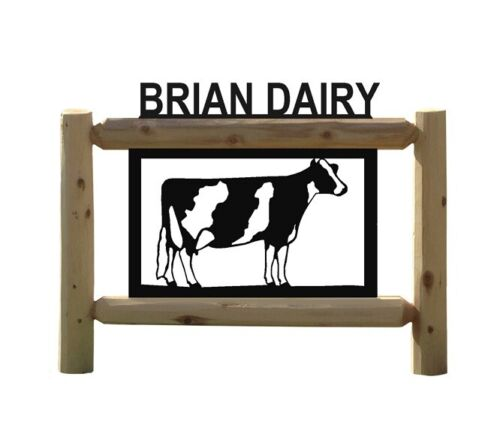 PERSONALIZED LOG FARM HOLSTEIN COW OUTDOOR SIGN