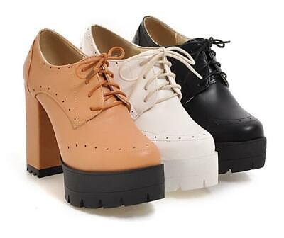 Womens Round Toe Lace Up Block Chunky Heels Pumps Shoes High Platform Ankle Boot