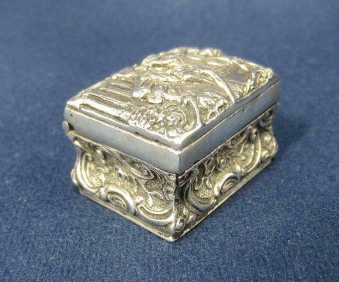 *Silver Trinket Box / Miniature Trunk  European, UK Vintage Hallmarks Dollhouse