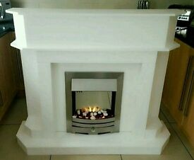 Fireplace with chrome electric fire