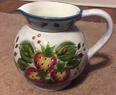 Heritage Mint 3 Qt. BLACK FOREST FRUITS PITCHER Glazed Ceramic Pottery New