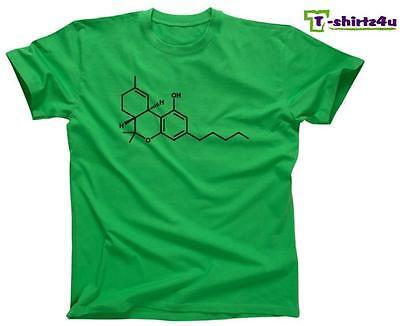 Thc Molecule Marijuana Weed Grass Sativa Hash Stoner Cannabis T Shirt New Green