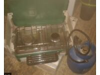 fishing/camping gas cooker two rings, grill and gas bottle.