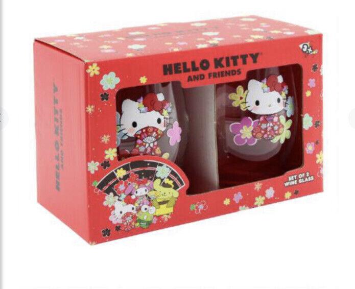 Hello Kitty Stemless Glass Wine Drinking Glasses New Set Of 2 Sanrio Tokyo