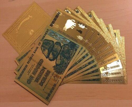 MAKEOFFER~10 Pcs Zimbabwe 100Trillion Dol.($)Gold Plated Novelty Notes+1Certifi.