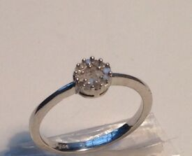 35. Beautiful Stirling Silver Concave Diamond Ring