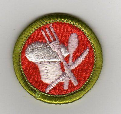 Cooking (Green Border) Merit Badge, Type H Plastic Back (1972-2002), Mint!