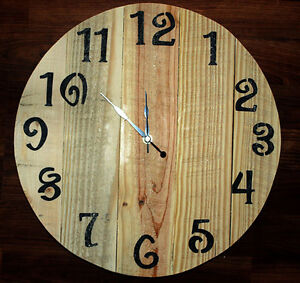 Pallet board clock, hand-crafted