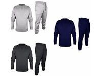 New Mens Plain Fleece Hoodie Tracksuit Set Fleece Hoody Lined Zip Up Top Bottom