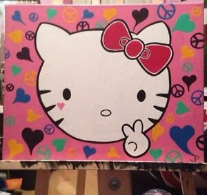 Hello Kitty Hand Painted Canvas