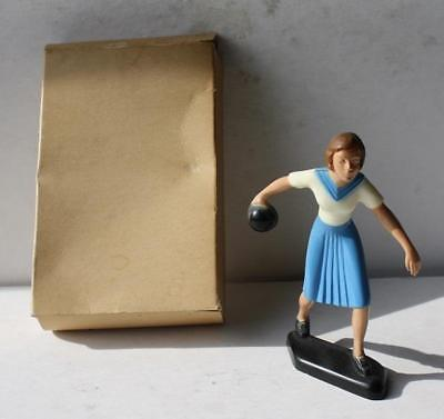 Bowling Lady Bowling Figure Plastic Cake Topper Hand Painted Decoration With Box