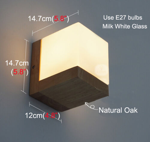Oak Wood Frame Glass Cover Wall Lamp Light Home Cafe