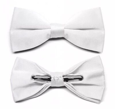 White Clip-On Bow Tie Formal Wedding Satin Finish NEW In Package White Satin Bow Tie