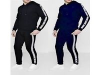 New Mens Plain Fleece Hoodie Tracksuit Set Hoody with Poppers Gym Top & Bottom