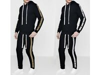 New Men Hoodie Cotton Tracksuit Set Jogging Gym Hoody Suit with Poppers Top & Bottom