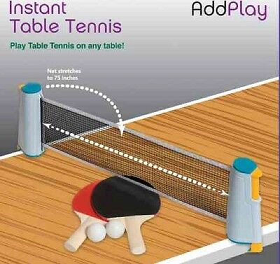 DAMAGED BOX Instant Extendable Full Size Table Tennis Game With Net Bats & Balls