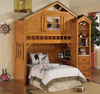 NEW TREE Sporting house RUSTIC OAK Surface WOOD Combine LOFT BED w/ BOOKSHELF STORAGE & DESK