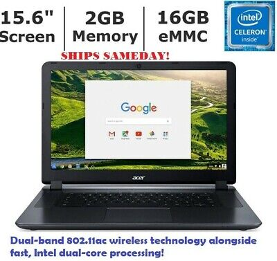 NEW Acer Chromebook 15.6 HD N3060 2GB RAM 16GB WebCam  DUAL-CORE Processor EMMC