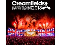 Creamfeilds 4 day ticket standard camping