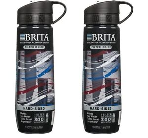 BRITA Hard Sided Water Filter Bottle 23.7 Ounces Americana NEW - 2 BOTTLES