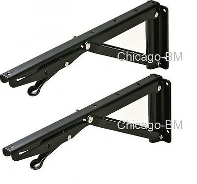 "2pcs (1 pair)Black Folding Bracket, steel, 300mm (11-7/8"") shelf support bracket"