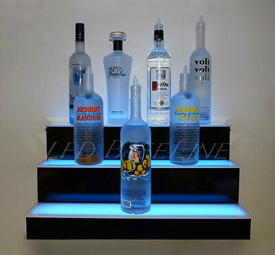 36 Led Lighted Shelf 3 Tier Wall-mounted Homebar Liquor Bottle Display Rack