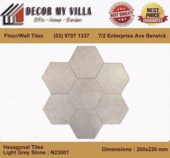 Hexagon Tiles -Light Grey Stone (200x230mm) Modern Slick Design