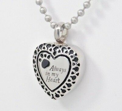 """Pet Cremation Urn Necklace, """"Always in my Heart"""", Dog or Cat Ashes Keepsake"""
