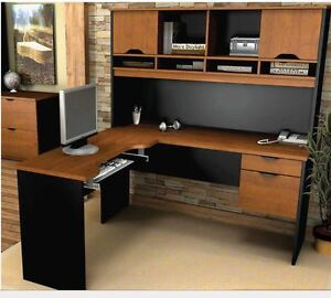 Innova L-Shaped desk and matching file cabinet