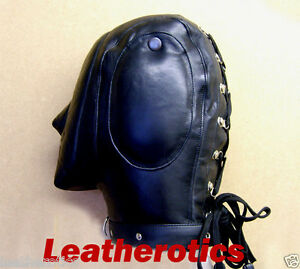 Genuine-LEATHER-lockable-AUDIO-mask-gimp-hood-face-sensory-padded-leder-maske