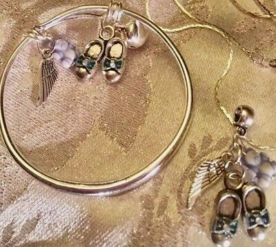 """🌸Ted,wing&Baby Shoes,boy/16""""Chain+BABY BANGLE Plain/in A Box."""